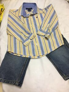 OSHKOSH Carpenter jeans and HILLfiger shirt size 12 m