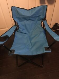 Camping folding outdoor chair large size black and blue colour