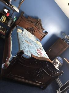 Antique Dark Walnut Bed and matching pieces. Sell all together