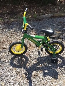 "12"" John Deere Kids Bike with training wheels"
