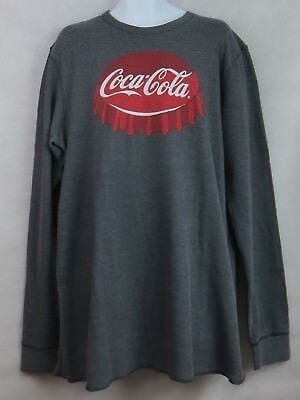 Mens Long Sleeve Thermal Tee (CocaCola Coke Mens Thermal Long Sleeve T-Shirt Tee Bottlecap New 2X Licensed )