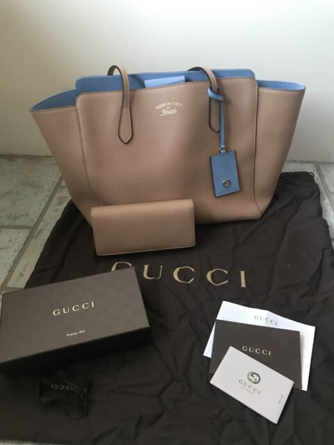 d2d1fb91db9 Gucci Swing medium leather tote with wallet