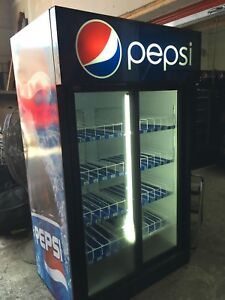 Pepsi coke pop cooler two door 2 fridge freezer dispenser
