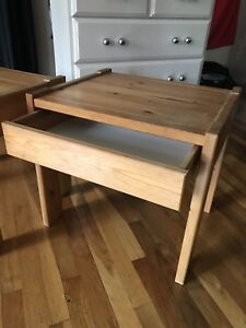 Two matching real wood end tables