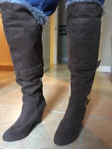 Women's size 7 wedge brown boots