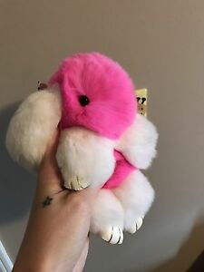Pink and white furry bunny rabbit keychain purse accessory