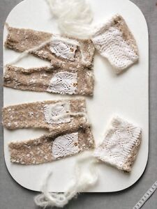 Twin set knit bloomers and bonnets