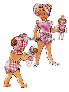 Vintage 1950s Toddlers Tie Romper Bonnet Doll Clothes Hat Sz 1 2 Sewing Pattern