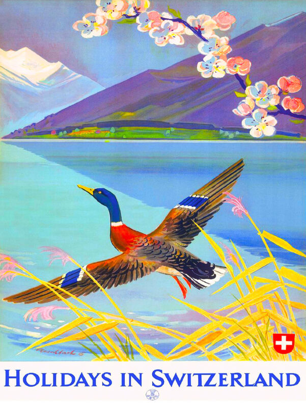 Holidays in Switzerland Europe European Vintage Travel Advertisement Art Poster