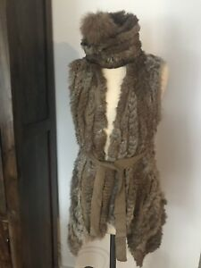 Fur Vest o/s with matching hat.