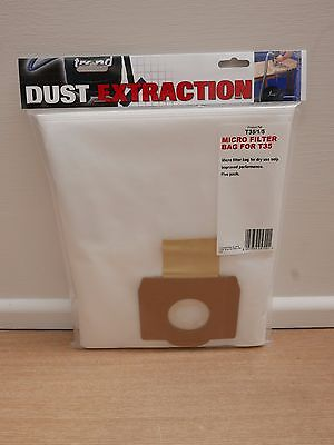 PACK OF 5 MICRO FILTER BAGS FOR TREND T35 VACUUM M CLASS DUST EXTRACTOR T35/1/5