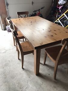 IKEA table and 4 ingolf chairs
