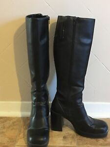 Women's tall black leather boots size 10