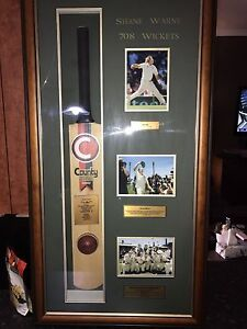 Shane Warne signed Ball with bat and picture Joondalup Joondalup Area Preview