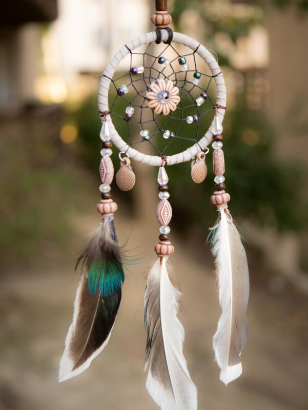Aiyana Small Beige Dreamcatcher With Wooden Beads & Brown Feathers Tiny Space De