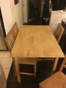 Wooden table and 4 chair