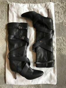 Chloe black leather boots size 37.5 Made in Italy