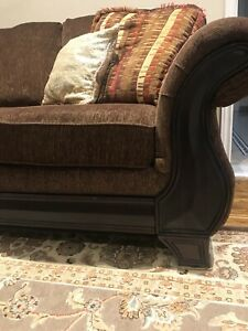 Wood trim couches set of 2