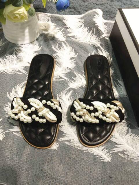 5c4b0838fd75 New Chanel style Cruise Line Pearl Woven Slides Thongs