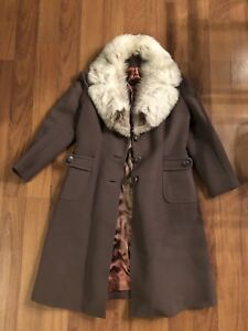Vintage Taupe Coat with Mink collar