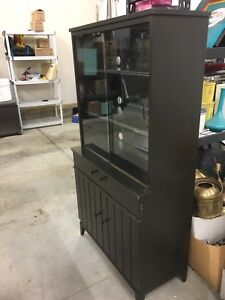 Vintage solid wood display cabinet