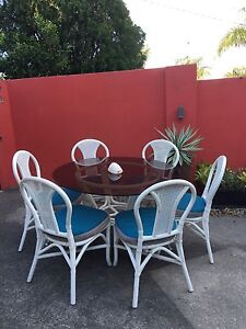Cane Outdoor dining setting white ,glass top Rochedale South Brisbane South East Preview