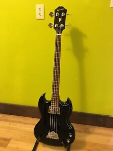 Epiphone SG Bass and 15W Fender practice amp