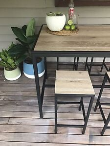 Modern Industrial Indoor/Outdoor Bar / Dining Table & Stools Redland Bay Redland Area Preview