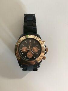 Men's triwa watch rose gold black chronograph