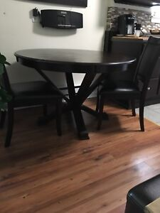 "48"" Mahogany Round Table 4 Chairs Brown Leather"