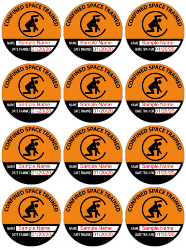 12 Custom Confined Space Trained Hard Hat Decals (2.25 Inch) with Name and Date