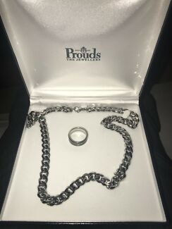 Silver 50cm men's chain + ring