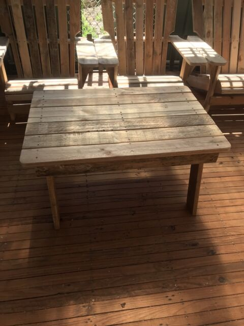 Handmade Wooden Outdoor Coffee Table Lounging Relaxing