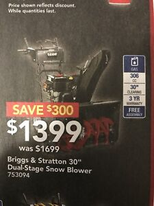 New Snow Blower 30'' Dual-Stage 306cc