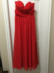 Red Chiffon Strapless Grad/Bridesmaid Dress