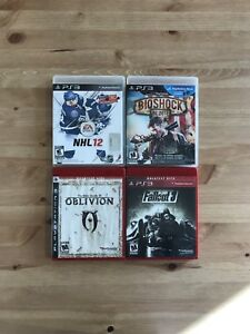 BioShock Infinite, Fallout 3, Elder Scrolls IV and NHL 12 (PS3)