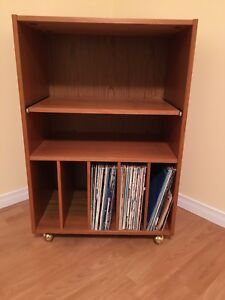 Teak stand for stereo system, records, books etc