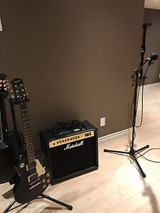 Amp/ electric guitar/ acoustic electric/ microphone with stand