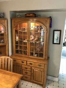 Gorgeous two piece oak China cabinet