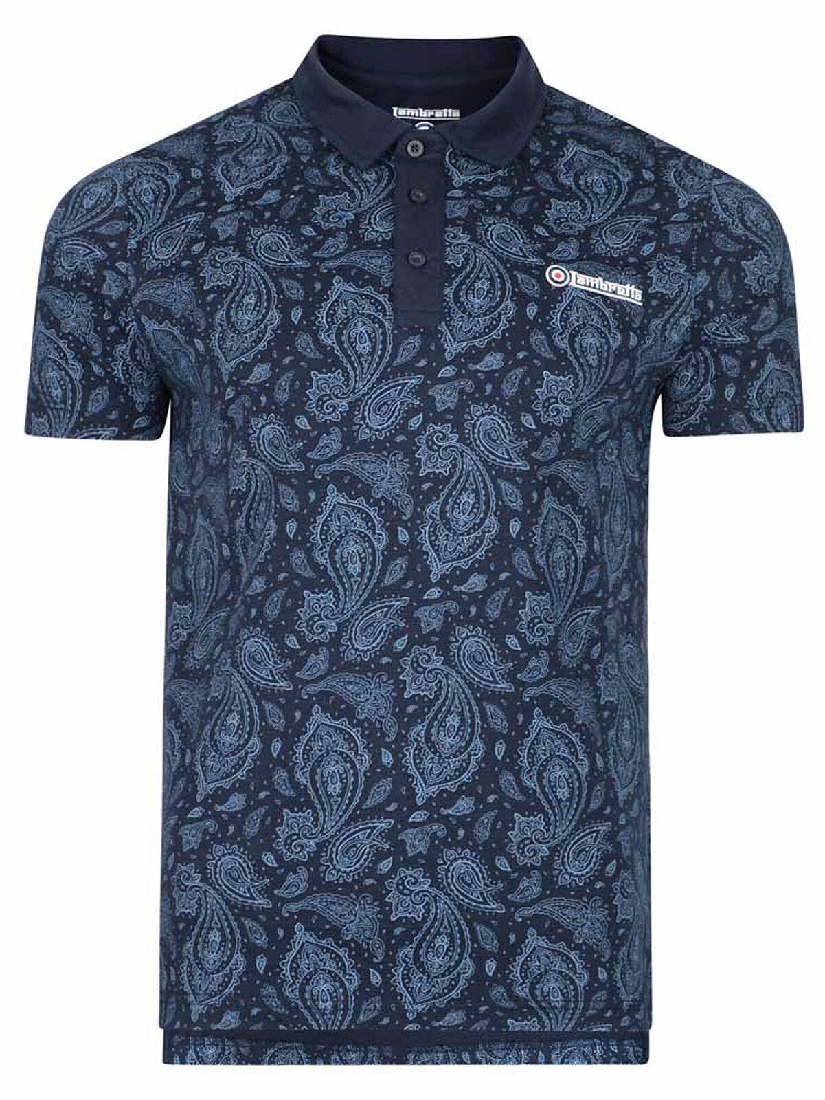 Mens Lambretta Retro style Polo Shirts Summer Casual Top Tee Shirt
