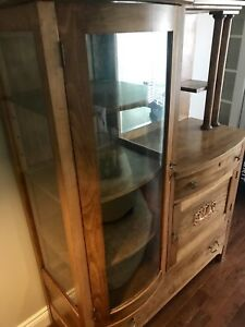 Antique side by side buffet hutch cabinet