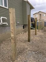 Wood fence Post holes/install 1-780-228-4736