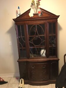 Mahogany china cabinet with led lights remote and skeleton keys