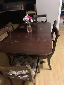 Antique dinning table and 6 chairs