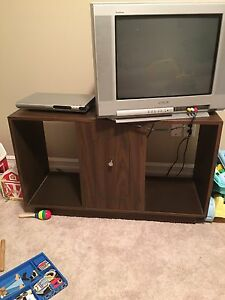 Sony TV, Daenyx DVD player, and stand