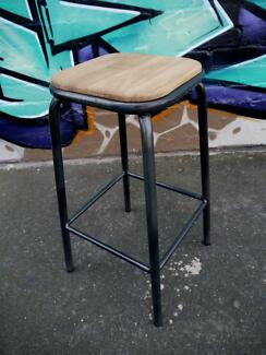 New Metal Timber Vintage French School Kitchen Counter Bar Stools