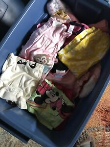 Bin of girls clothes from 3m to 12 months
