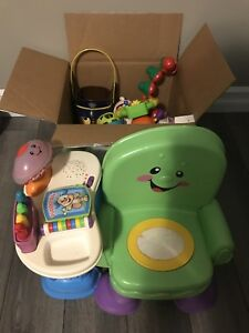 Baby toy lot (15 items) plus Fisher Price chair
