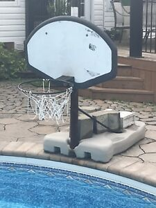 In ground pool basketball net.