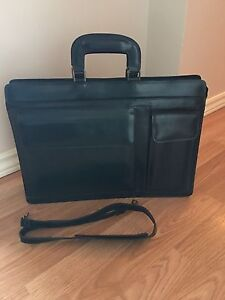 Navy Blue Leather Brief Case or Computer Bag
